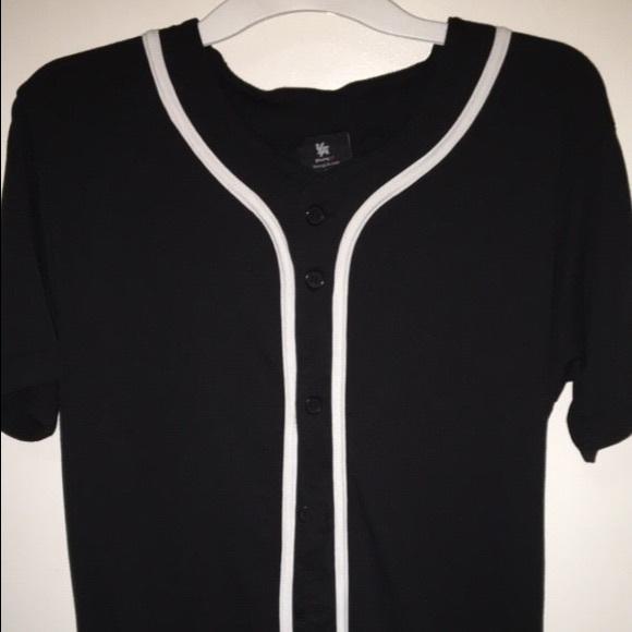 online store f770b 11fe3 Plain black button up baseball jersey